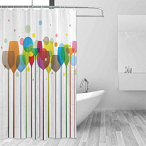 (Home Decor Shower Curtain Winery Decor Colorful Stylish Tall Wine Glasses Alcohol Drink Beverage Fizzy Champaine Party Bar Art Design Western Shower Curtains W40 xL72 Multi)