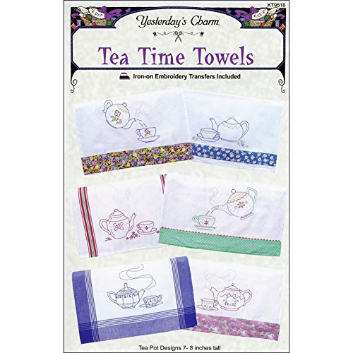 Tea Time Towels Embroidery Iron-On Transfers from Yesterday's Charm KT9518