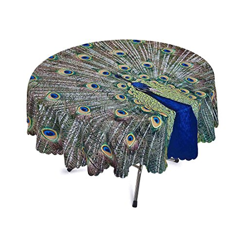 Green Peacock Tea Cloths Polyester Printed Round Table Cover for Dinner Parties Picnic Kitchen Home Decor 71 Inch 1 Piece Style1 ()