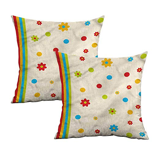 (Khaki home Floral Square Slip Pillowcase Dots and Flower Childish Square Slip Pillowcase Cushion Cases Pillowcases for Sofa Bedroom Car W 16