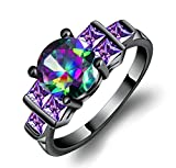 AnaZoz Black Gold Plated Round and Square Multicolor Cubic Zirconia Engagement Rings for Her Size 9