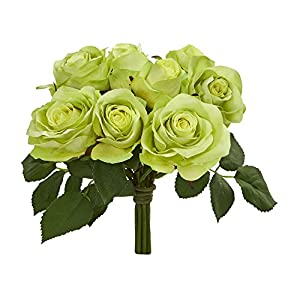 Nearly Natural Rose Bush Artificial Flower Stem Bunch, Set of 2 7
