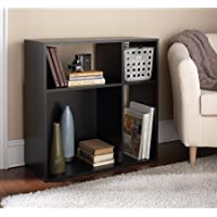 Visually Appealing Asymmetrical 4-Cube Storage in Java Brown Finish