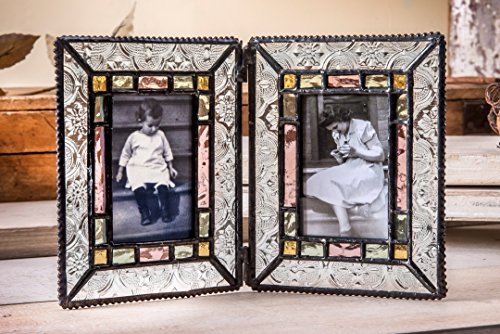 J Devlin Pic 137-2 Double Picture Frame 2x3 Photo Frame Stained Glass Sage Green, Rose, Amber Vintage Keepsake Frame (Photo Sage Frame)