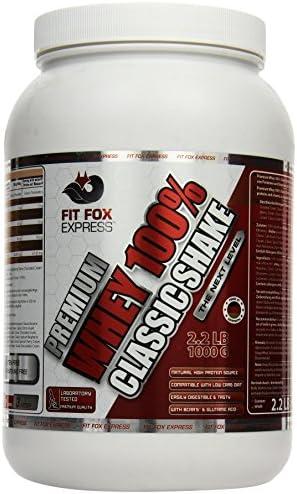 Fit Fox Express Premium Whey 100% Protein (Eiweißshake, Molkenprotein mit Dosierlöffel) Classic Peanut Hazelnut...