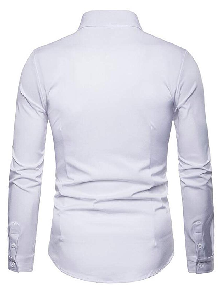 ouxiuli Mens Slim Fit Embroidered Shirt Long Sleeve Casual Button Down Shirts