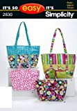 Simplicity Sewing Pattern 2830 It's So Easy Bags, One Size