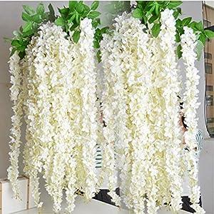 XuBa Wholesale 10pcs Rattan Strip Wisteria Artificial Flower Vine for Wedding Home Party Kids Room Decoration DIY Craft Fake Flowers 104