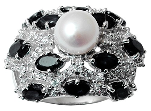 - Banithani 9.25 Starling Silver Faux Pearl And Black Onyx Stone Ring Women Fashion Jewelry-7