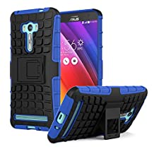 ASUS ZenFone Selfie Case - MoKo Heavy Duty Rugged Dual Layer Armor with Kickstand Protective Case for ASUS ZenFone Selfie 5.5 Inch 2015 Smartphone, BLUE (Not for other ASUS mobile devices)