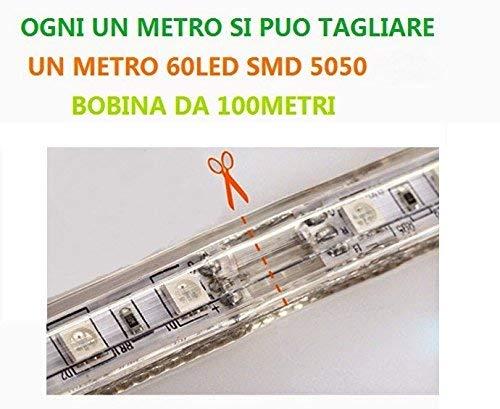 Bobina tira LED flexible strip tagliabile SMD 5050//60/Intern//exterior 220/V bobina 100/m luz blanca 60/LED a Metro