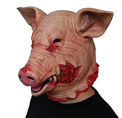 Gmask 2018 Latex Scary Pig Head Mask Halloween Costume]()