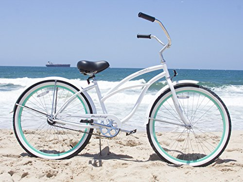 Firmstrong Urban Lady Beach Cruiser Bicycle with White/ Green Rim Color
