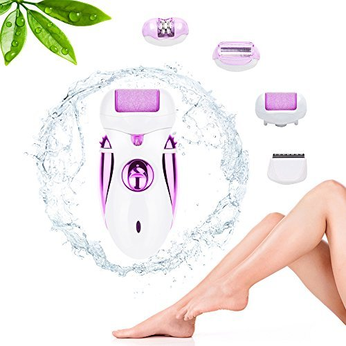 Rechargeable Electric Epilator, Scheam 4 in 1 Callus Remover Shaver Hair Clipper Pedicure Foot Care Tool Womens Trimmer Hair Removal Hair Cutting Device