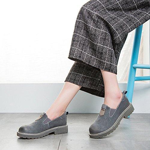 Aisun Damen Britisch Stil Rund Zehe Loafers Low-Top Ohne Verschluss Slippers Grau