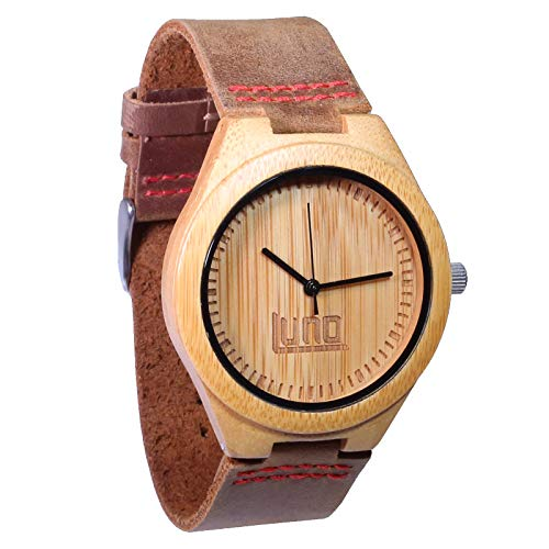 Luno Wear Men's Wood Watch, Genuine Leather, The Shoots