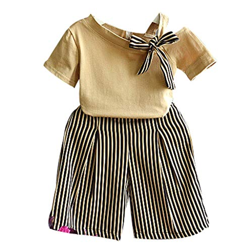 New Baby Clothes, 2PCS Toddler Kids Baby Girl Bowknot T Shirt Tops Striped Loose Pants Clothes Set Yellow 12-24 Months