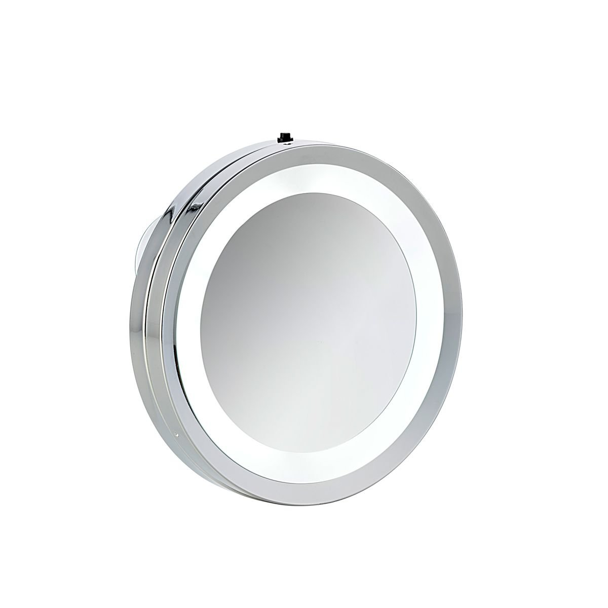 Axentia Round Wall Mirror with Suction Cup Bathroom Mirror Illuminated LED Bathroom Mirror Bathroom Make-up and Cosmetics Mirror, Metal, Silver, 15x 15x 2cm