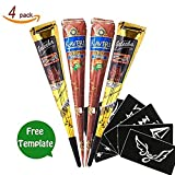 Temporary Tattoo India Henna Cones Tattoo Paste Tatouage Temporary Paste Body Art Painting with Free Henna Stencil Set (Black_Brown)