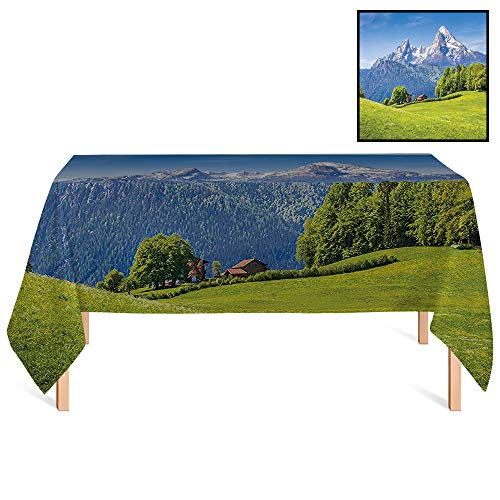 SATVSHOP Oil-Proof Tablecloth /70x156 Rectangular,Decorations Blooming Flowers and Snowcapped Mountain Tops in The Background National Park Bavaria Germany.for Wedding/Banquet/Restaurant.