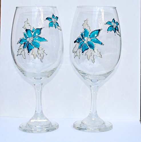 Blue Poinsettia Stemmed (Set of 2) Hand Painted Holiday 20 oz Wine Glasses Hand Painted Flower Beads