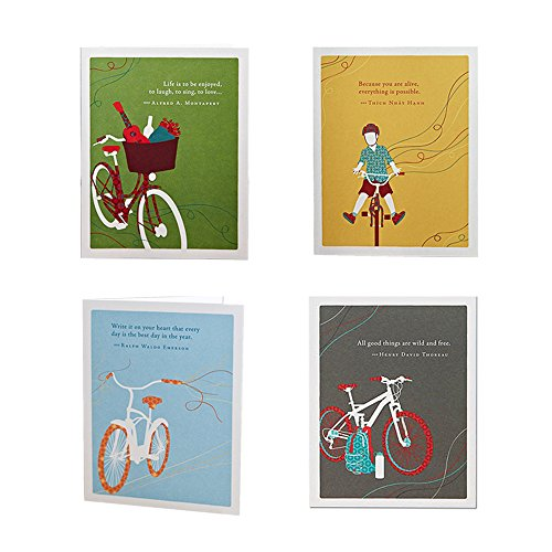 The Bicycle Birthday Bundle by Positively Green, Set of 4 Different Happy Birthday Greeting Card Designs with Sentiments, Four White Envelopes Included ()