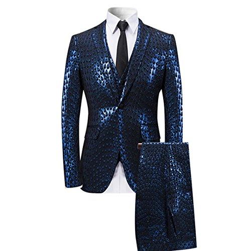 YFFUSHI Men's Shiny 3 Piece Suit Design Peacock Feather Printed Wedding Prom Tuxedo by YFFUSHI