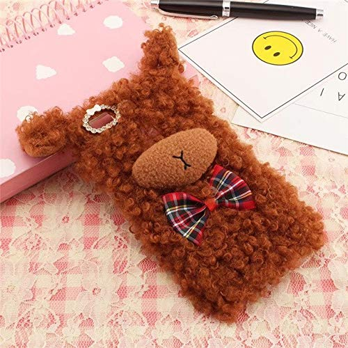 (Lessonmart Fashion Lovely Sheep Case Cute Sheep Curly Wave Wool Fur Bowknot Plush Case)