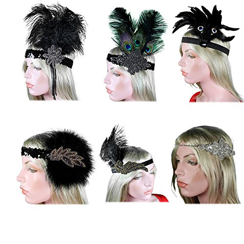 1920s Flapper Headband 20s Great Gatsby Headpiece Black White Feather Gatsby Crystal Halloween Costume Party Prom