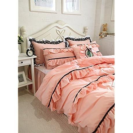 Lotus Karen Sweet Ruffles Korean Princess Bedding Set 100 Cotton 4PC Girls Orange Pink Bed Sheet Set 1Duvet Cover 1Floral Bed Skirt 2Black Lace Ruffles Pillowcases
