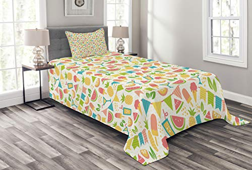 Lunarable Party Bedspread, Exotic Pineapples and Watermelon Slices with Ice Cream Cocktail Colorful Party Flags, Decorative Quilted 2 Piece Coverlet Set with Pillow Sham, Twin Size, Multicolor
