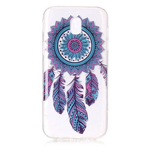 mokyo Samsung Galaxy J72017/j730funda suave, transparente Gel TPU Funda de silicona con [libre Stylus Lápiz] antigolpes antiarañazos Teléfono de buzón Super fina goma Rubber Carcasa Transparente jal atrapasueños