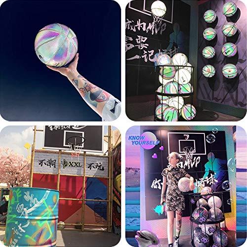HWJF Luminoso séptimo básquetbol estándar, básquetbol Luminoso de Arco Iris, básquetbol de Adultos para niños y Adolescentes, básquetbol de Interior Que Absorbe el Sudor por HWJF