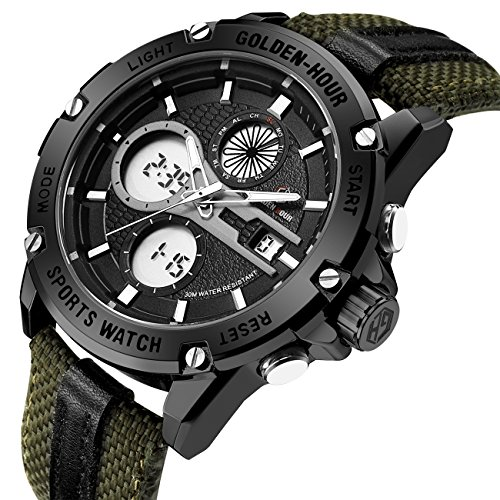 - Mens Sports Analog Digital Watches Outdoor Nylon Waterproof Army Watch, Alarm/Timer, Big Face Military Wristwatches for Men with LED Backlight - Black