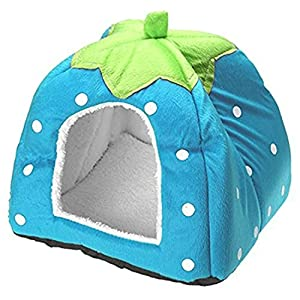 1 Pcs Cute Soft Strawberry Pet Dog Cat Bed House Kennel Doggy Warm Cushion Basket Pad Blue S(10.210.20.8 inch)