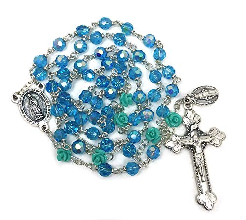 Elysian Gift Shop Our Lady of Guadalupe Green Aqua Blue Rose Silver Italian Rosary with Aqua Aurora Borlealis Austrian Crystal and Rose Beads
