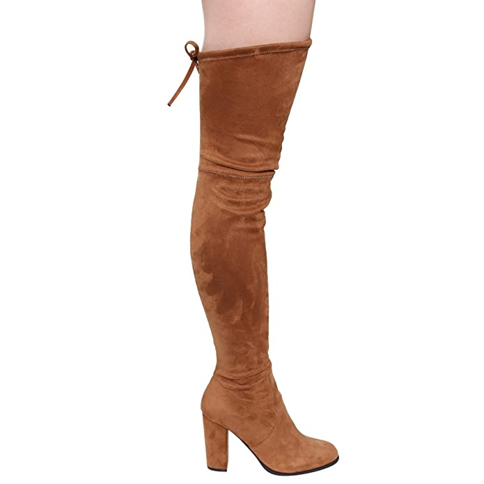 cdf14572b7c Hedda Graham Women s Thigh High Boots Drawstring Inside Zip Block Heel Snug  Fit Over The Knee