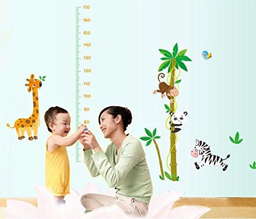 La Chambre des Enfants P/épini/ère Autocollants Amovibles ufengke/® Animaux de Bande Dessin/ée Singe Mignon Panda Z/èbre Girafe Toise Stickers Muraux