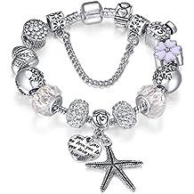 Presentski Silver Plate Charm Bracelet Christmas Gift for Beloved Ones