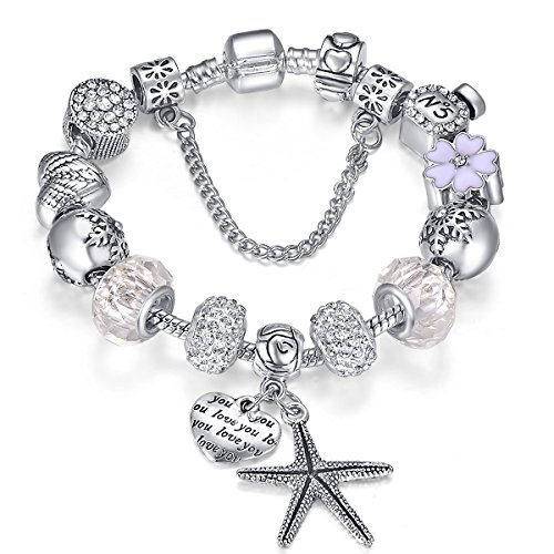Presentski 925 Silver Plated Creative Charm Bracelet DIY for Valentine's Day Gift -