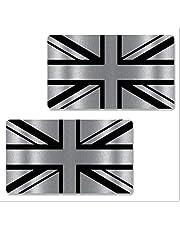 Biomar Labs® 2 stuks zilver vinyl Gross Verenigd Koninkrijk Great Britain Engeland UK vlag sticker autosticker auto moto motorfiets helm raam tuning B 257