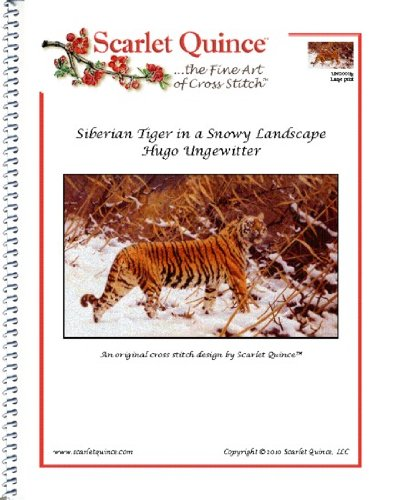 - Scarlet Quince UNG001lg Siberian Tiger in a Snowy Landscape by Hugo Ungewitter Counted Cross Stitch Chart, Large Size Symbols