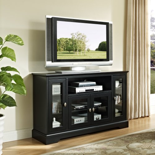 "WE Furniture 52"" Highboy Style Wood TV Stand Console, Black"