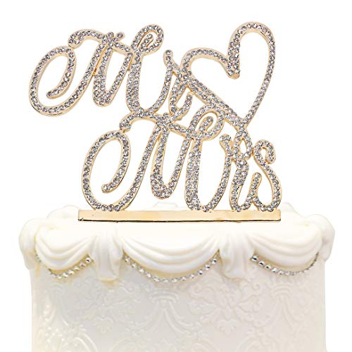 Hatcher lee Mr and Mrs Love Cake Topper Wedding Anniversary Gold Crystal Rhinestone Party Decoration