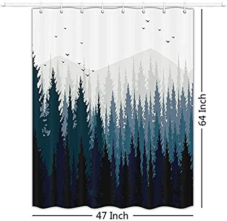 Jawo Rv Shower Curtain Gradient Ombre Mountain Forest Landscape For Camper Trailer Camping Bathroom 47 X 64 Inches Amazon Co Uk Kitchen Home