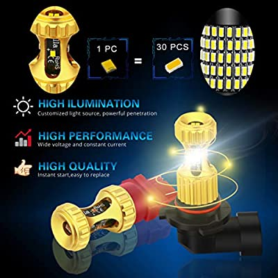 Alla Lighting 899 880 LED Fog Lights Bulbs Newest 3000lm Extreme Super Bright 12V 892 886 PG13 Replacement: Automotive