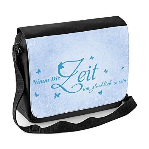 Mein Zwergenland Sublimation Messenger Bag mit Namen & Wunschmotiv, 11 L, schwarz, Motiv 5 Motiv 17