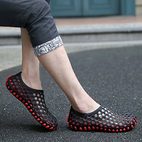 ZXCV Zapatos al aire libre El agujero impermeable de los hombres calza los zapatos de los hombres al aire libre planos Negro