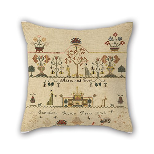 Throw Pillow Covers Of Oil Painting Elizabeth Rowe Terry, American - Sampler,for Floor,shop,lover,kids Room,kitchen,dance Room 20 X 20 Inches / 50 By 50 Cm(both Sides) (Frog Terry)