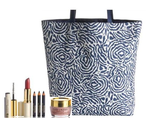 2012 Estee Lauder 7-piece Beauty Makeup Travel Gift Set: Resilience Lift Firming Sculpting Face and Neck Creme SPF15 + Sumptuous Bold Volume Lifting Mascara in Black + Pure Color Crystal Lipstick in Passion Fruit + 3 Mini Pure Color Kajal Pencils in Blackened Black, Blackened Plum, and Sapphire + Navy Print Tote Bag